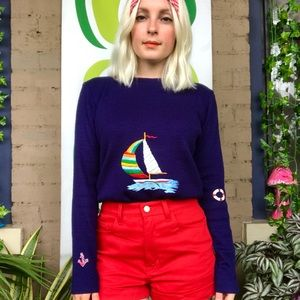 Vintage mod 70s nautical sailboat striped sweater